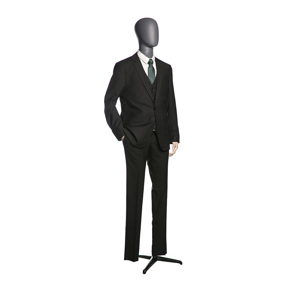 Egghead Male 3/4 Torso Mannequin with Wooden Arms 6: Matte Grey