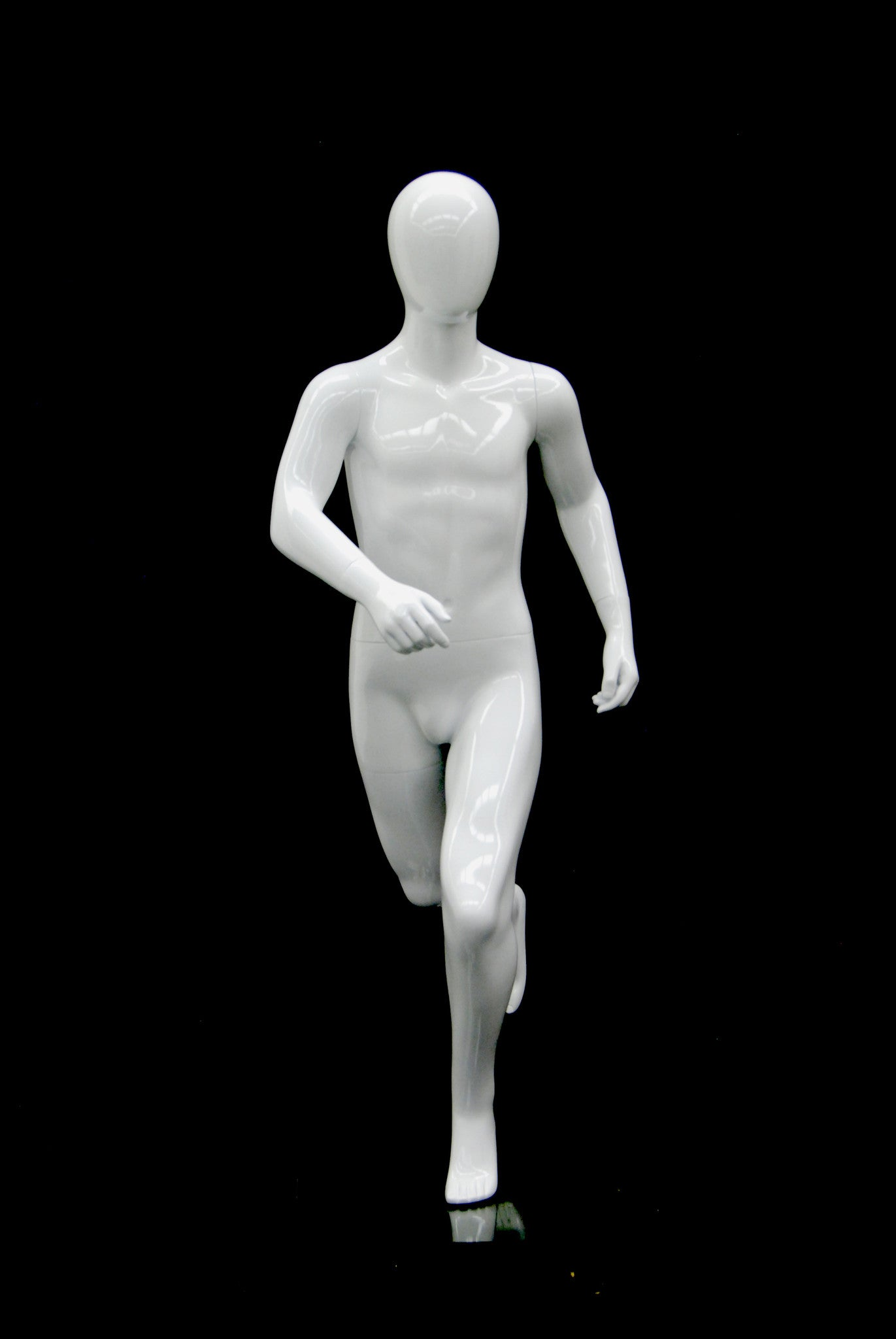 Athletic Boy Mannequin in Running Pose -- Glossy White