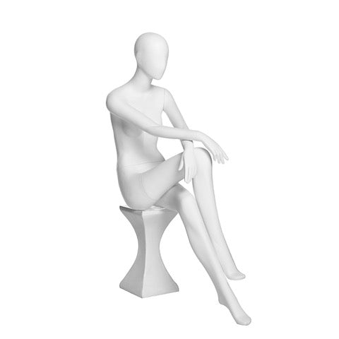 Bebe 3: Female Egghead Mannequin Matte White in a Sitting Position