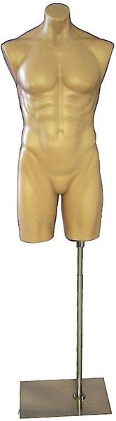 Tan Plastic Male 3/4 Torso: With or Without Stand