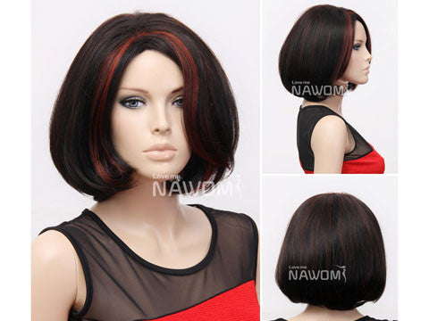 Female Wig: Dark Brown Pageboy with Red Highlights
