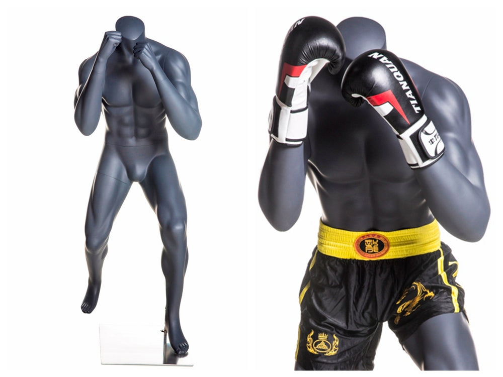 Male Mannequin in Boxing Pose: Matte Grey