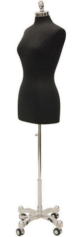 Black Jersey with Chrome Wheeled Base: Female French Dress Form