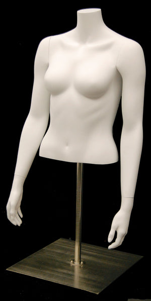 Female Half-Body Torso on Stand with Arms: Matte White