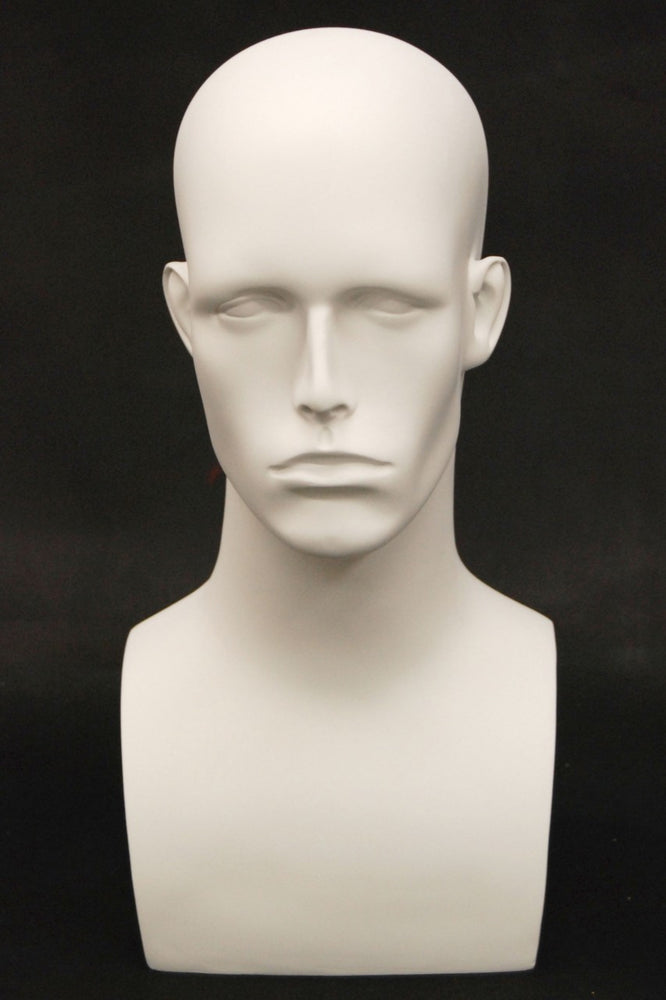 Donny: Male Mannequin Head in Matte White