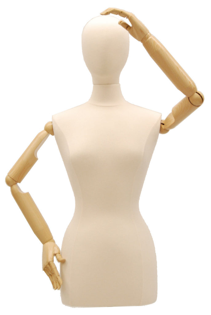 Articulated Female Dress Form -- White Jersey, Natural Wooden Tripod