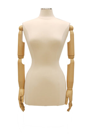 Female Dress Form with Bendable Arms: White Jersey, Wooden Tripod Base