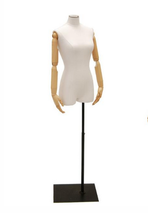 Female Half-Leg Dress Form with Bendable Arms: White Jersey on Metal Base