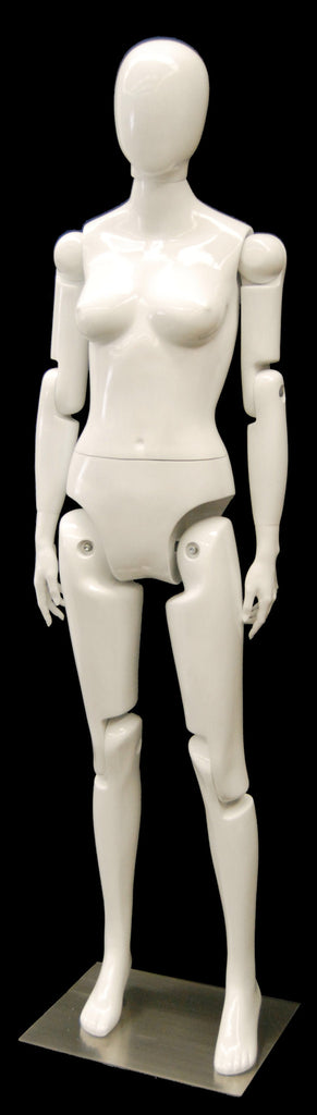 Articulated Egghead Female Mannequin -- White
