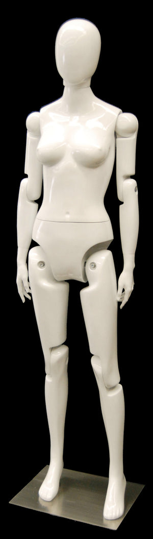 Articulated Egghead Female Mannequin: White