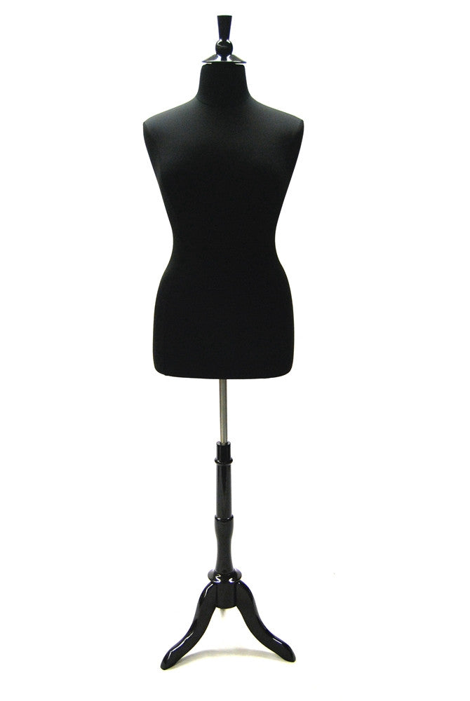 Plus Size Body Form: Black Jersey with Black Wooden Tripod & Top -- Size 18/20
