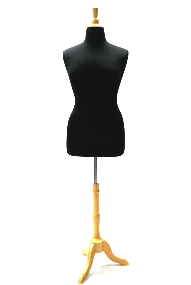 Size 14/16 Black Jersey Plus Size Body Form with Natural Wooden Tripod