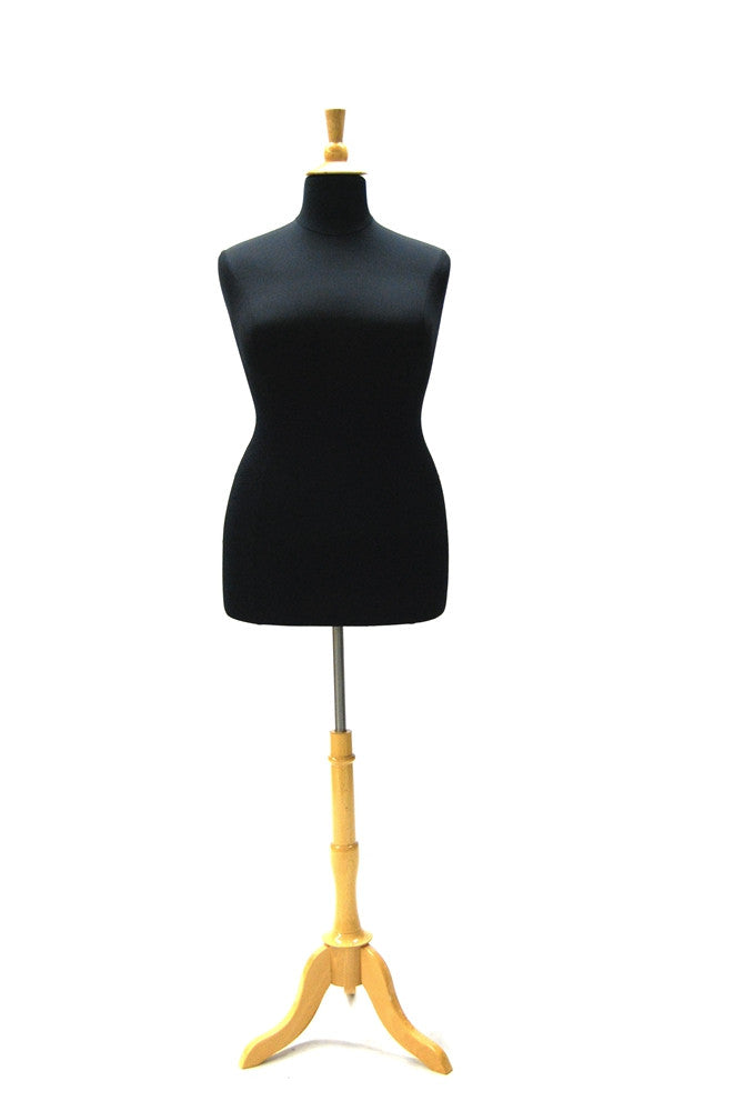 Plus Size Body Form: Black Jersey with Natural Wooden Tripod & Top -- Size 18/20