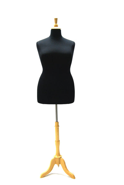 Size 18/20 Black Jersey Plus Size Body Form with Natural Wooden Tripod
