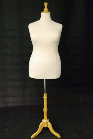 Size 14/16 Plus Size Body Form White Jersey with Tripod Base - Natural Wood