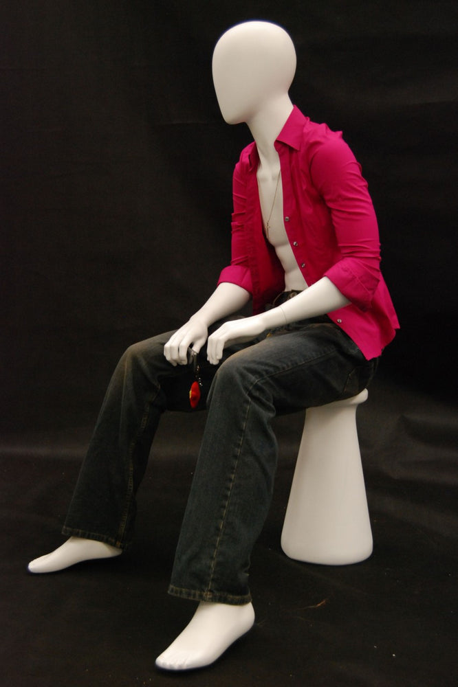 Kyle: Seated Egghead Male Mannequin in Matte or Glossy White