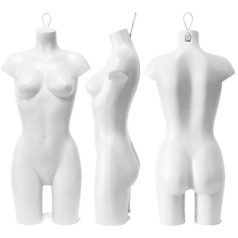 Plastic Hanging Female 3/4 Torso: White