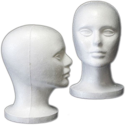 Set of 5 Female Styrofoam Mannequin Head #1