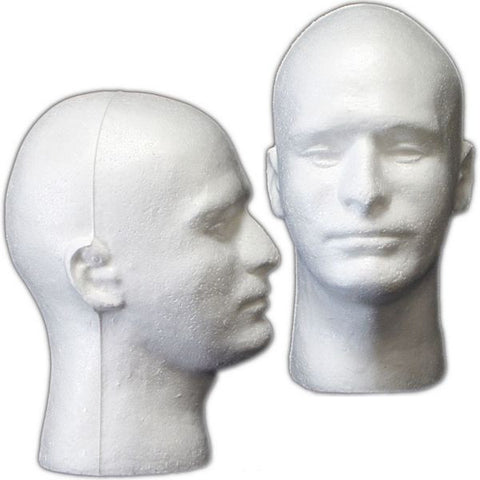 Male Styrofoam Mannequin Head #2 - Pack of 5