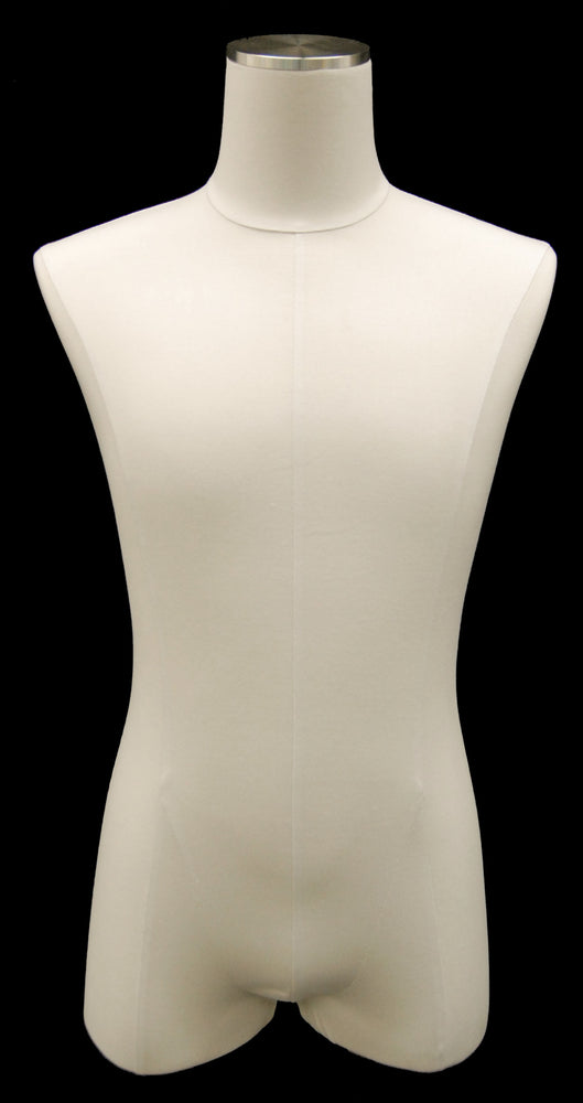Male Body Form Linen White Jersey: Brushed Metal Base (tall)