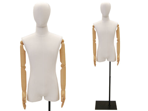 Male Half-Leg Dress Form with Bendable Arms: White Linen