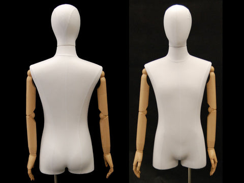 Articulated Male Dress Form with Half-Leg -- White Linen