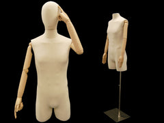 Articulated Male Dress Form with Half-Leg -- Natural Linen