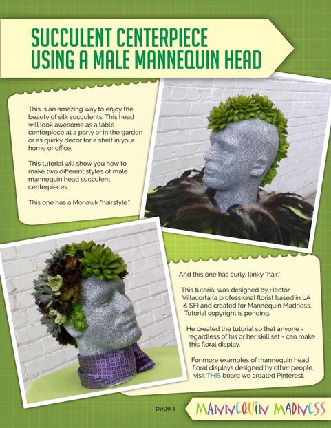 EBook Tutorial: Faux Succulent Mannequin Head Display