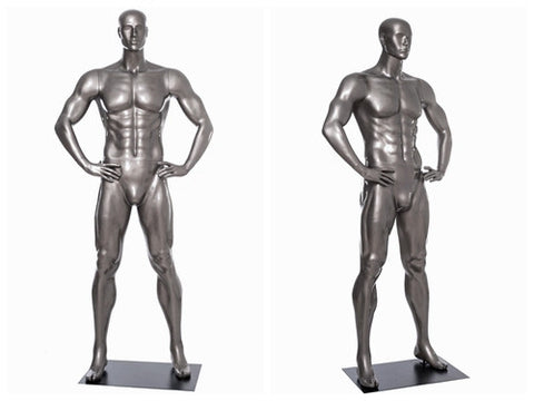 Sports: Male Football Mannequin 1 -- Glossy Grey