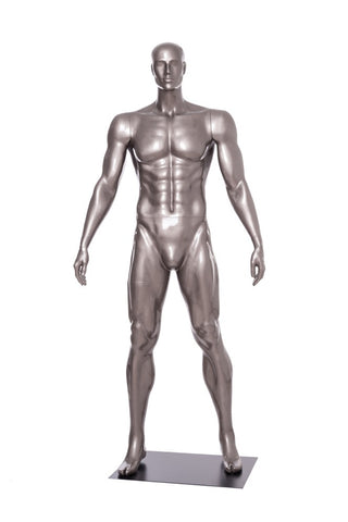 Football Playing Male Mannequin 3: Glossy Grey