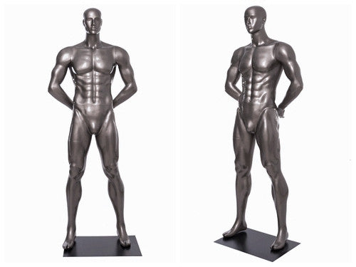 Football Playing Male Mannequin 5: Glossy Grey