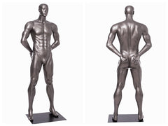 Sports: Male Football Mannequin 5 -- Glossy Grey