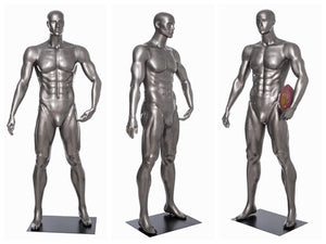 Football Playing Male Mannequin 6: Glossy Grey
