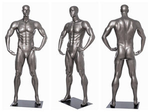 Football Playing Male Mannequin 7: Glossy Grey