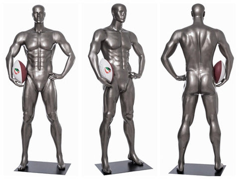 Sports: Male Football Mannequin 7 -- Glossy Grey