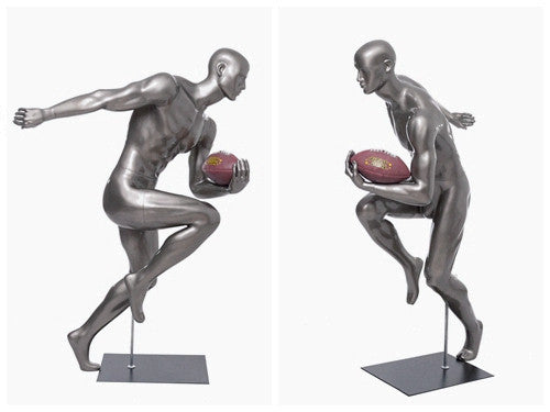 Football Playing Male Mannequin 10: Glossy Grey