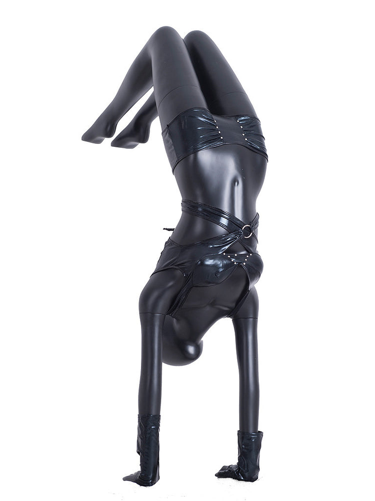 Yoga Egghead Female Mannequin in Handstand Pose: Black Matte