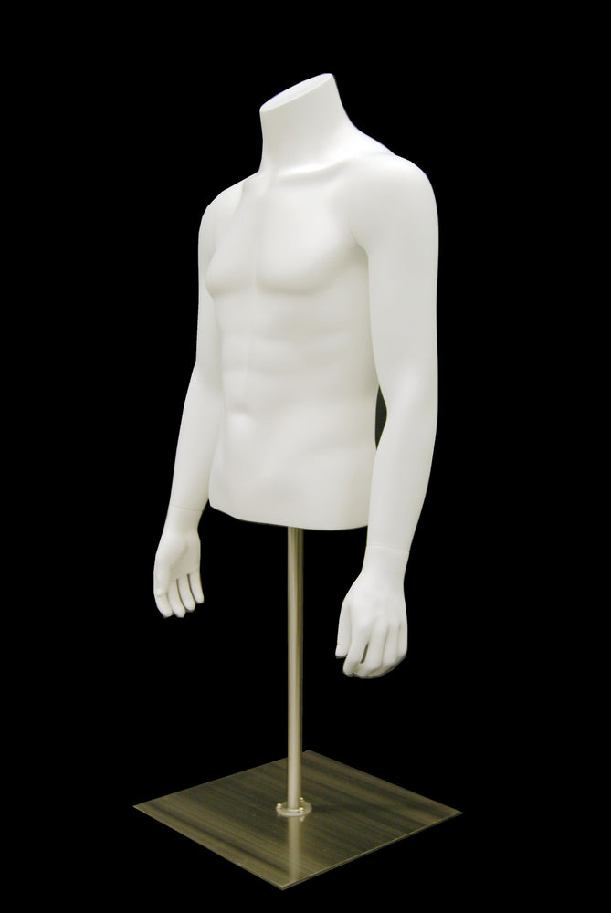 Headless Male 1/2 Torso on Stand: Matte White