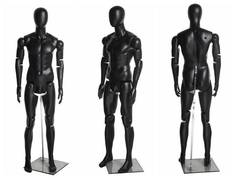 Articulated Egghead Male Mannequin with Articulated Hands: Black