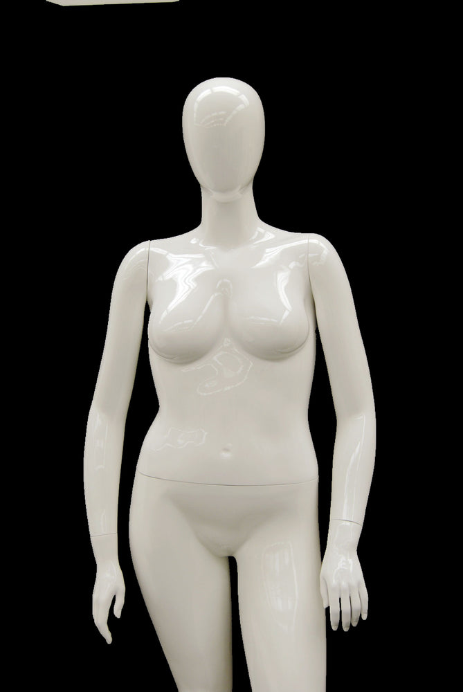 Nancy 2: Plus Size Female Egghead Mannequin Glossy White
