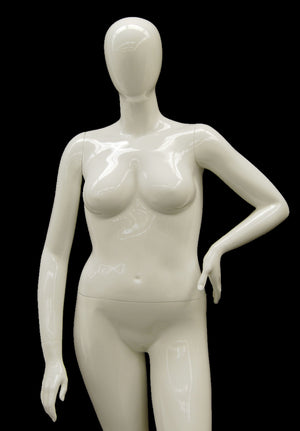 Nancy 3: Plus Size Female Egghead Mannequin Glossy White