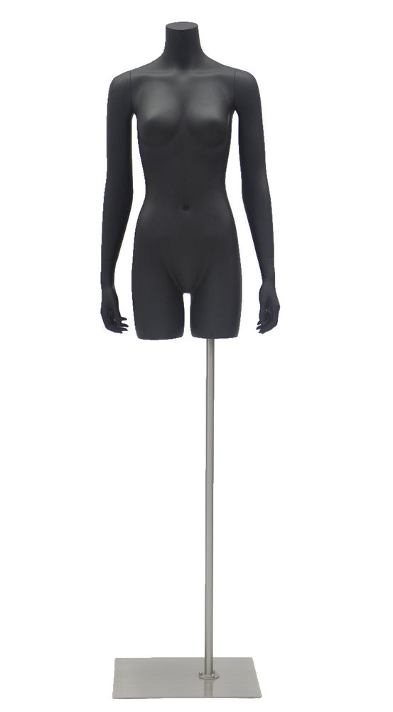 Headless Female Torso with Arms: Matte Black
