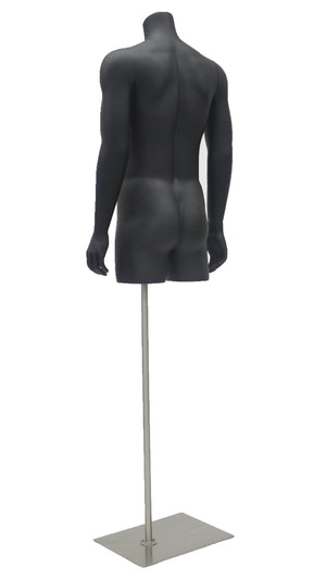 Headless Male Torso with Arms: Matte Black