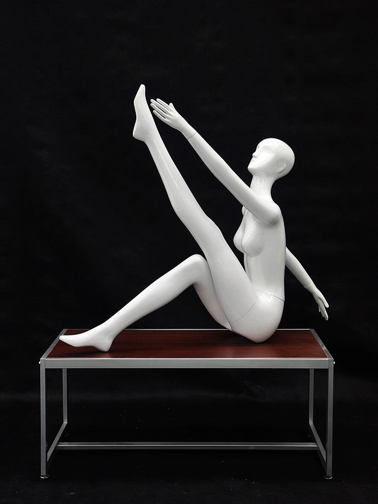 Yoga Female Mannequin in Stretching Pose -- Glossy White or Matte White