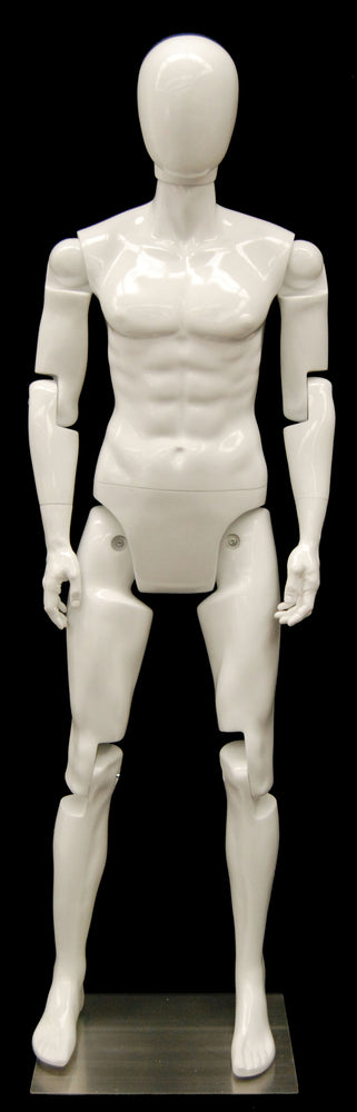 Articulated Egghead Male Mannequin: White