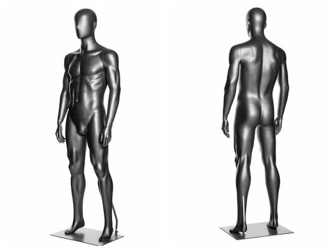 Abstract Male Mannequin in Standing Pose 2: Metallic Grey