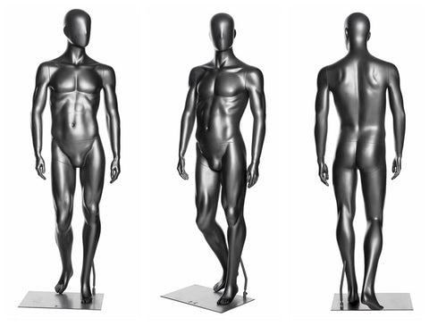 Sports Male Mannequin in Standing Pose 1:  Metallic Grey
