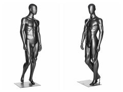 Abstract Male Mannequin in Standng Pose 1 -- Metallic Grey