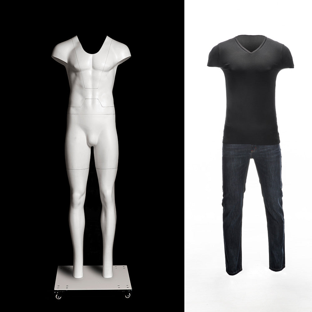 Male Ghost Mannequin: ULTRA Deluxe Version with Non-Rotating Base