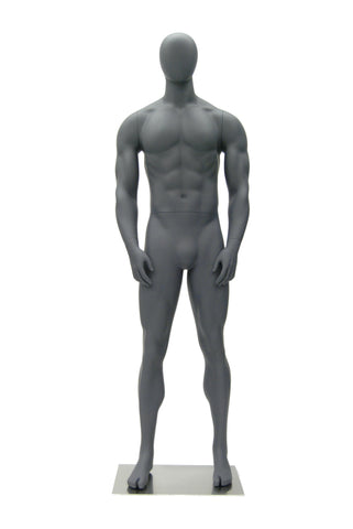 Sports Egghead Male Mannequin Standing Pose: Matte Grey